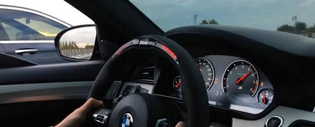 Au pus de-o liniuta pe autostrada. Cine a castigat-o dintre BMW-ul M5 si Mercedes-ul E63 S