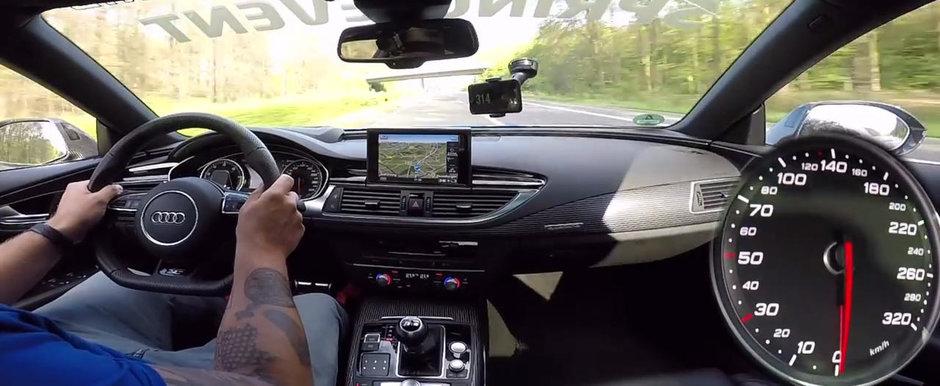 Au scos pe autostrada un Audi de 750 CP ca sa vada cat de rapid este. La 320 km/h insa, vitezometrul a luat-o razna complet