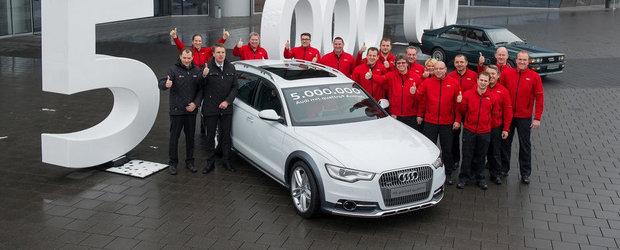 Audi a ajuns la 5 milioane de unitati cu sistemul quattro