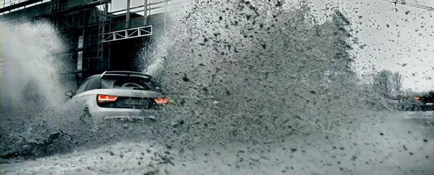 Audi A1 Quattro ne serveste o portie uriasa de distractie pe santier. VIDEO AICI!
