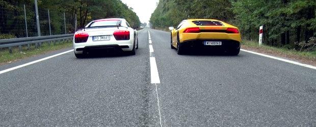 Audi R8 V10 si Lamborghini Huracan inchid strada pentru o cursa ilegala de 1220 CP