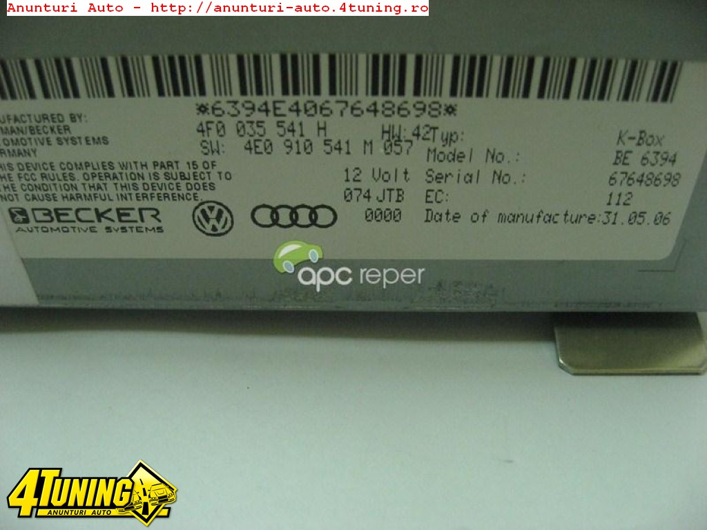 Audi Radio K Box Unitate Radio Audi A6 4F A8 4E Q7 4L A4 8K A5 8T