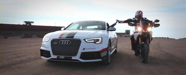 Audi RS5 Coupe si Ducati Multistrada 1200 S, impreuna la Pikes Peak