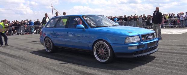 Audi-ul asta de 800 de cai a facut senzatie la curse. Urla ca din gura de sarpe si pleaca incredibil