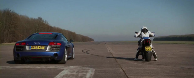 Auto vs Moto: Noul Audi R8 V10 Plus provoaca la duel modelul Ducati Diavel