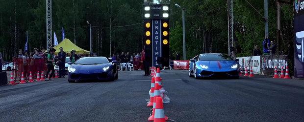 Aventador vs. Huracan: Care-i mai rapid in linie dreapta?