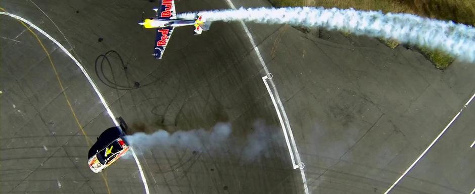 Avion vs masina: Duel in pasi de drift si Gymkhana