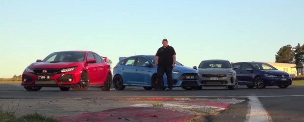 Bani sa fie, ca ai de unde alege! Filmul ASTA pune fata in fata Kia Stinger, Golf R, Focus RS si Civic Type R