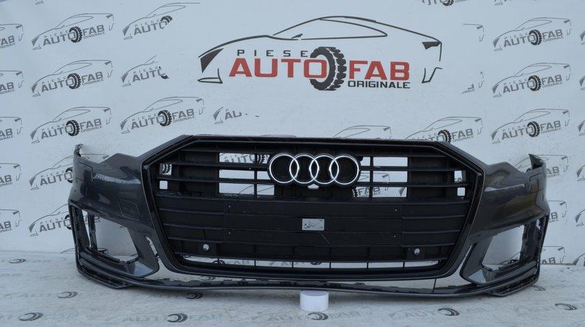 Bară față Audi A6 4K S-line Black Edition an 2018-2020 cu găuri pentru Parktronic şi spălătoare faruri