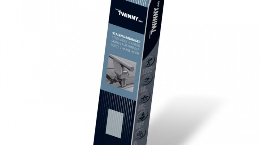 Bare portbagaj din otel marca Twinny Load TL S27, kit complet cu bare, suporti si antifurt cu cheie