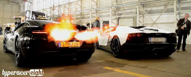 Batalia evacuarilor: McLaren 12C si Lambo Aventador se intrec in sunete si flacari