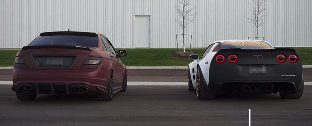 Batalia motoarelor V8: Mercedes C63 vs Corvette Z06. Care suna mai bine?