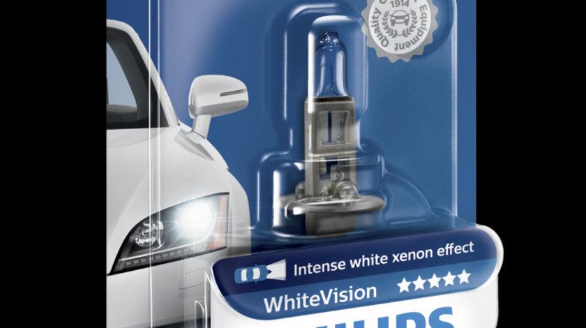 Bec auto cu halogen pentru far Philips H1 White Vision 12V 55W 1 Buc