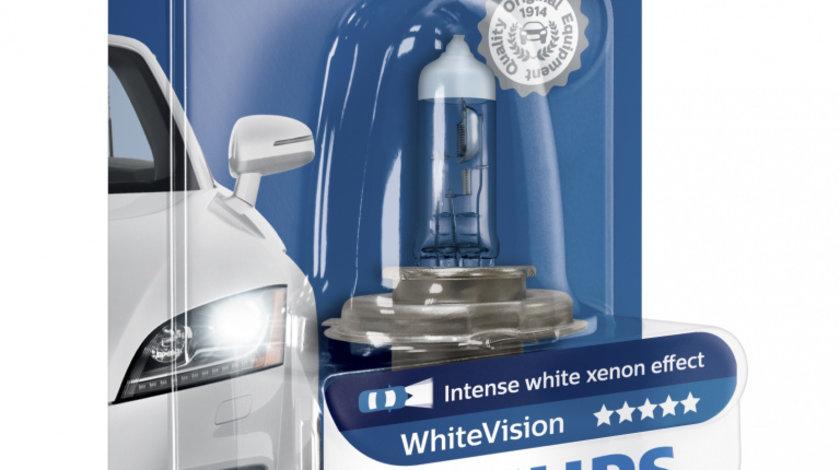 Bec auto cu halogen pentru far Philips H4 White Vision, 12V, 55W, 1 Buc