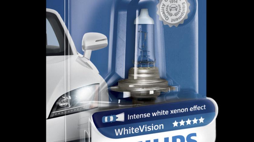 Bec auto cu halogen pentru far Philips H7 White Vision Ultra 12V 55W 1 Buc