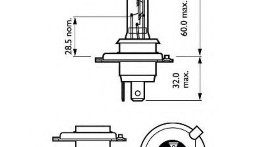Bec, far faza lunga VW LT II platou / sasiu (2DC, 2DF, 2DG, 2DL, 2DM) (1996 - 2006) PHILIPS 12342PRB1 piesa NOUA