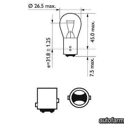 Bec, lampa frana / lampa spate SAAB 9-3 Cabriolet (YS3F) PHILIPS 12495CP