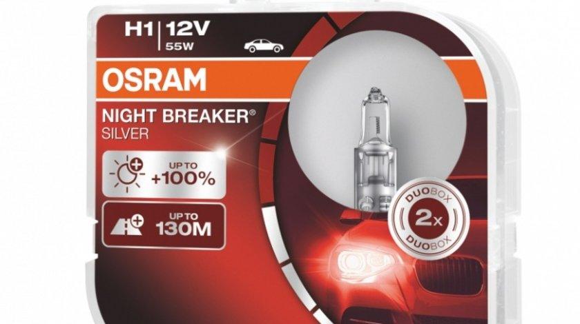 Bec Osram H1 12V 55W Night Breaker Silver 64150NBS-HCB Set 2 Buc