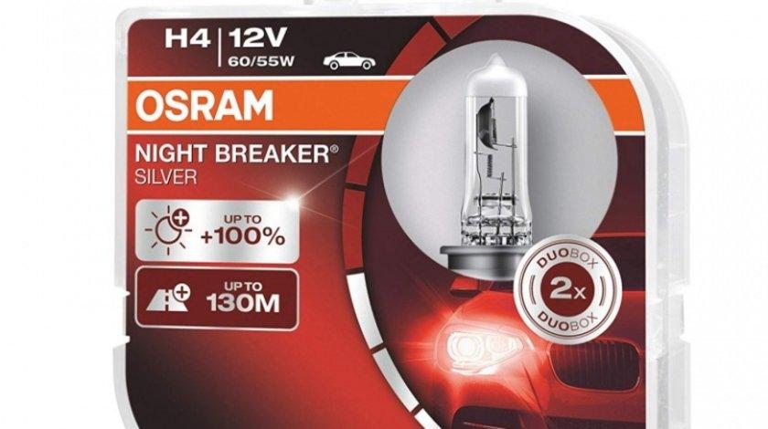 Bec Osram H4 12V 60/55W Night Breaker Silver 64193NBS-HCB Set 2 Buc
