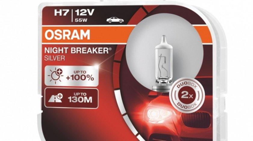 Bec Osram H7 12V 55W Night Breaker Silver 64210NBS-HCB Set 2 Buc