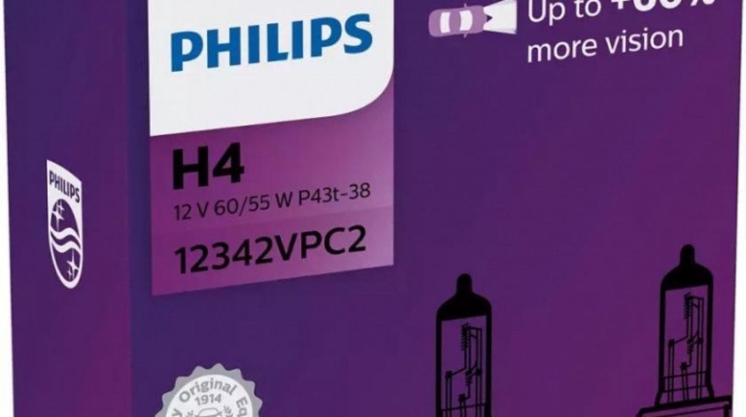 Bec Philips H4 P43T 12V 60/55W Visioplus Set 2 Buc 12342VPC2