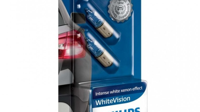 Bec Philips H6W 12V BAX9S White Vision 2 Buc 12036WHVB2