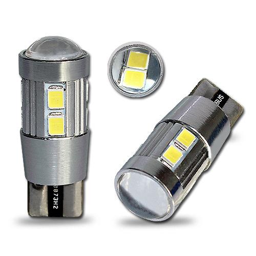 Bec T10 10 led-uri SMD 5630 cu lupa in varfa 12v CanBus gama premium - bec pozitie sau numar fara eroare de bec ars ManiaCars