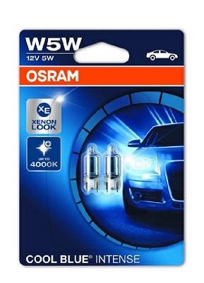 Becuri auto W5W W2.1x9.5d 12V 5W Osram Cool Blue Intense , Set 2 becuri efect Xenon 2825HCBI-02B