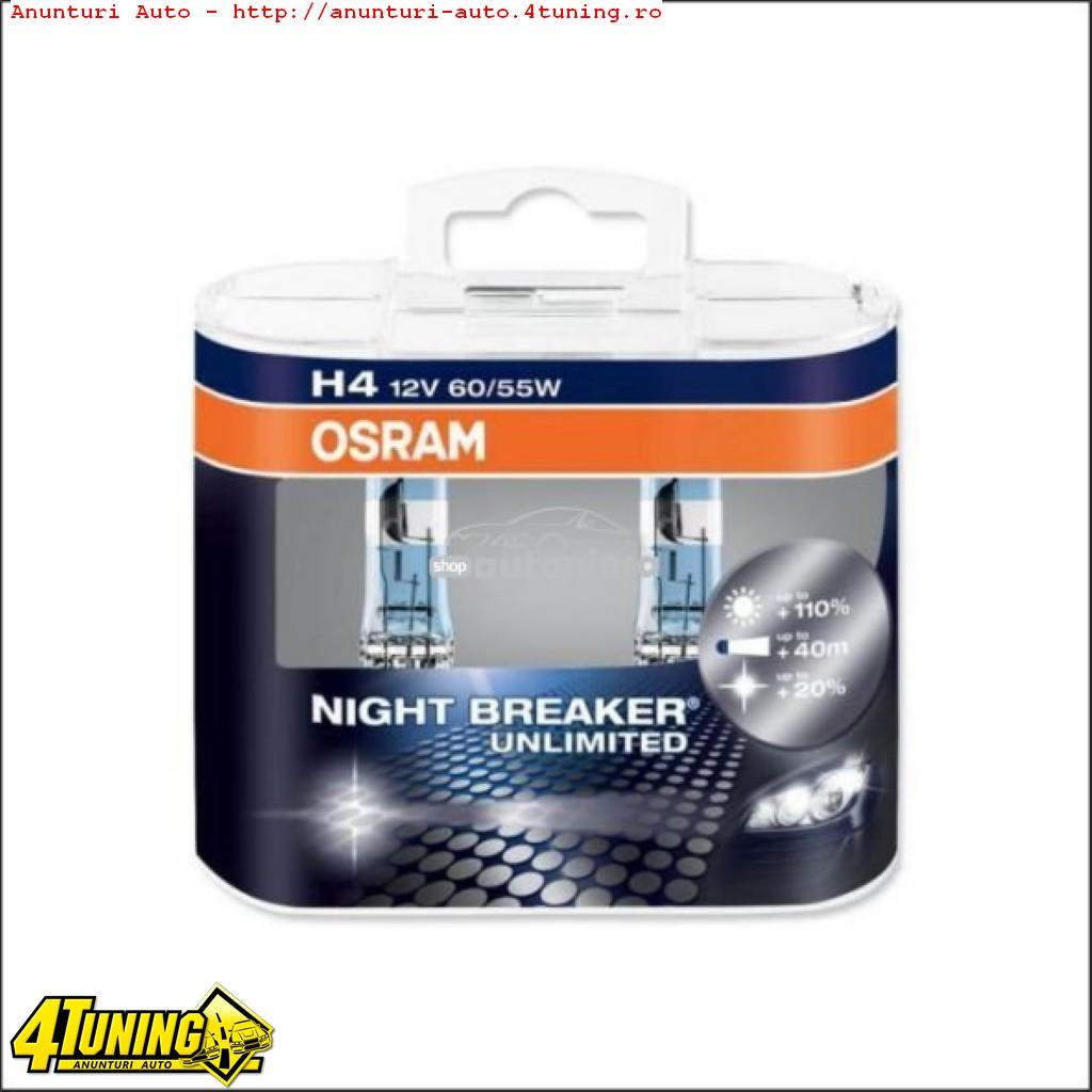 Becuri Osram Night Breaker Unlimited H1 H4 H7 H11 HB3 HB4 D1S D2S