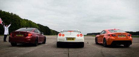 BMW M4 vs. Lexus RC-F vs. Nissan GT-R in linie dreapta: tu pe cine pariezi?