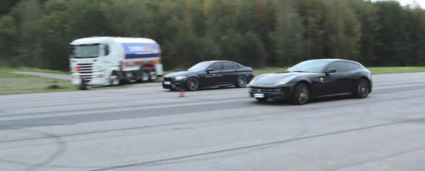 BMW M5 F10 vs. Ferrari FF: Cursa cu final neasteptat