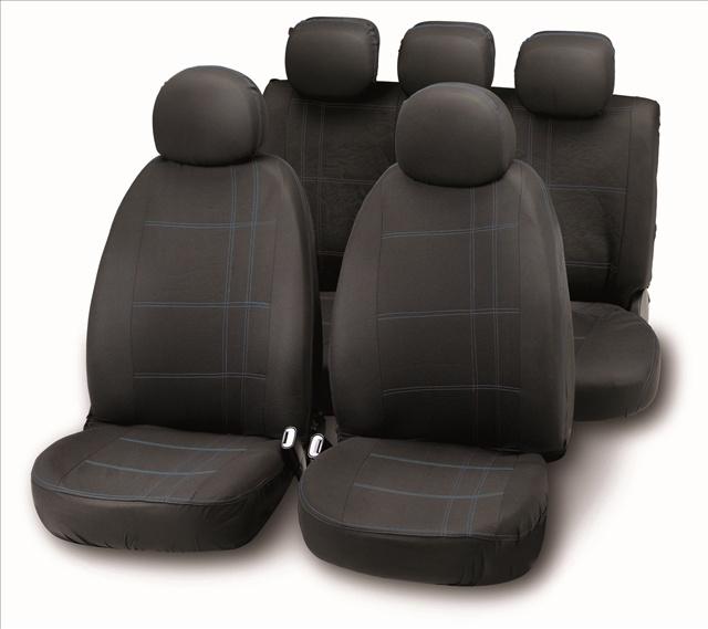 Bottari set complet huse scaune fata/spate negr/albastru