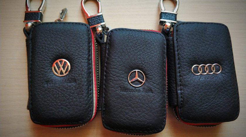 Breloc husa chei piele vw Mercedes , Volkswagen, Audi, BMW + inel port chei + carabina