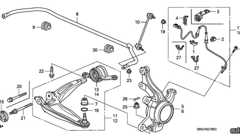 Bucsa brat inferior punte fata spre spate Honda Civic VIII (poz.13) NIPPARTS 51395SMGE03
