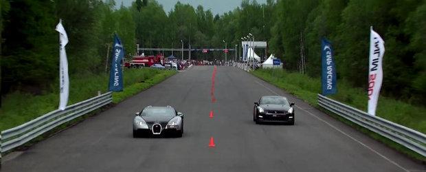 Bugatti Veyron. Nissan GT-R (700 CP). DRAG RACE!