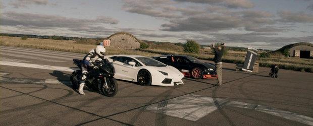 Bugatti Vitesse vs. Lamborghini Aventador vs. BMW S1000 RR. Cine castiga oare?