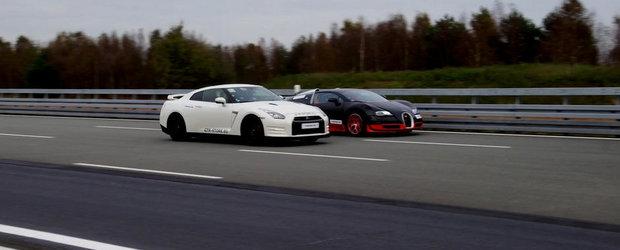 Bugatti Vitesse vs. Nissan GT-R de 1200 CP: Care-i mai rapid din mers?