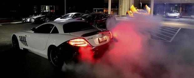 Burnout de senzatie cu un Mercedes SLR McLaren modificat