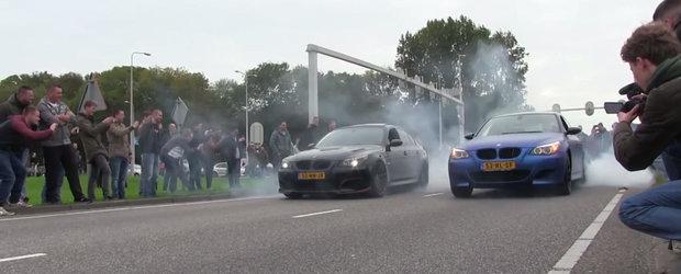 Burnout la superlativ: Doua M5-uri E60 incing impreuna asfaltul!