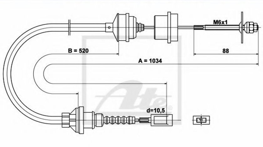 Cablu ambreiaj FIAT DUCATO bus (230) (1994 - 2002) ATE 24.3728-0518.2 produs NOU