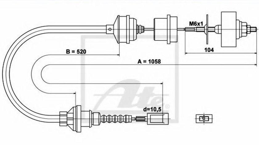 Cablu ambreiaj FIAT DUCATO bus (230) (1994 - 2002) ATE 24.3728-0337.2 produs NOU