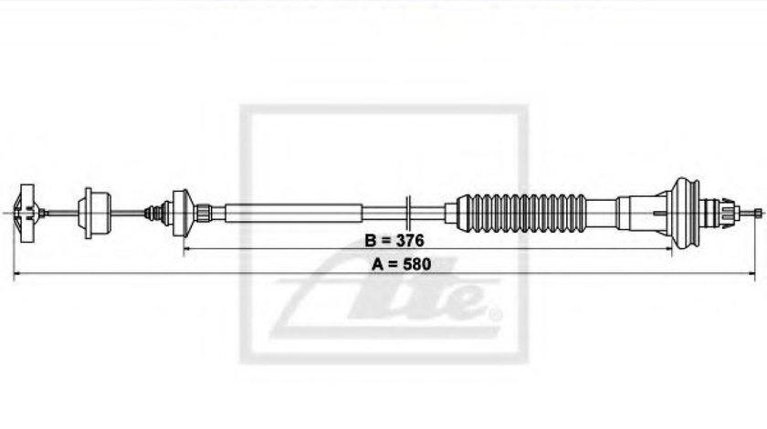 Cablu ambreiaj PEUGEOT 206 Hatchback (2A/C) (1998 - 2016) ATE 24.3728-0848.2 produs NOU