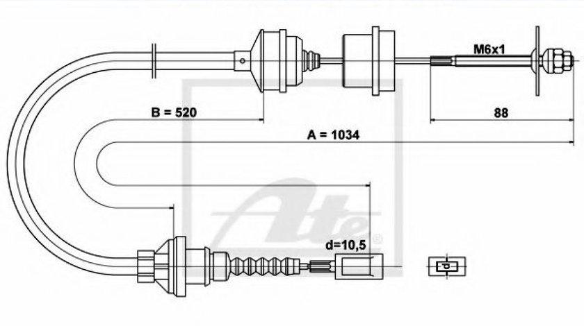 Cablu ambreiaj PEUGEOT BOXER bus (230P) (1994 - 2002) ATE 24.3728-0518.2 produs NOU