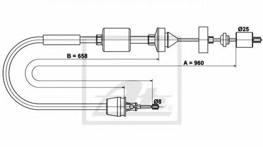 Cablu ambreiaj RENAULT CLIO II (BB0/1/2, CB0/1/2) (1998 - 2005) ATE 24.3728-1023.2 produs NOU