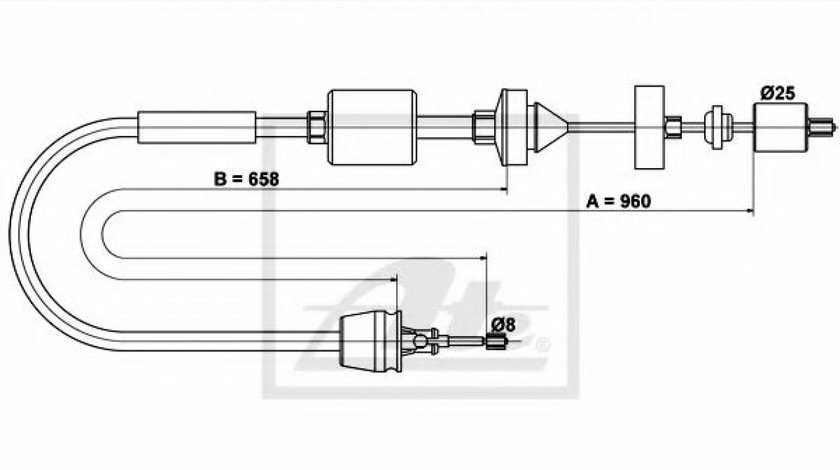 Cablu ambreiaj RENAULT KANGOO Express (FC0/1) (1997 - 2007) ATE 24.3728-1023.2 produs NOU