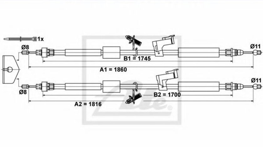 Cablu frana de mana / parcare FORD FOCUS C-MAX (2003 - 2007) ATE 24.3727-0659.2 - produs NOU