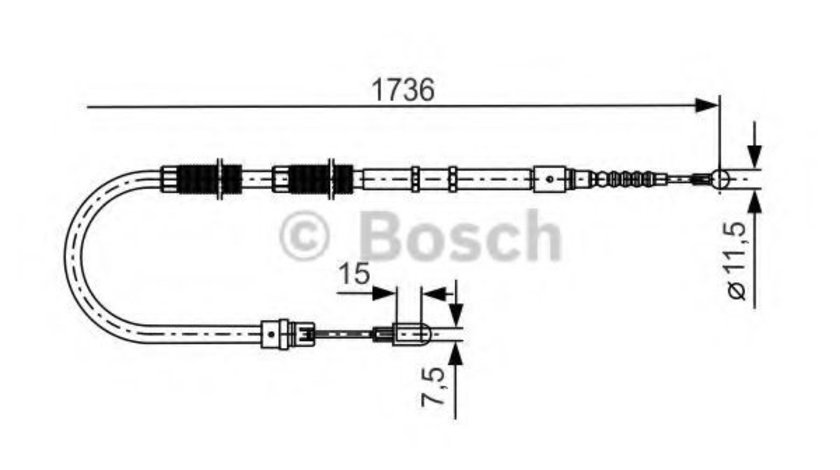 Cablu, frana de parcare AUDI A4 Cabriolet (8H7, B6, 8HE, B7) (2002 - 2009) BOSCH 1 987 477 257 piesa NOUA