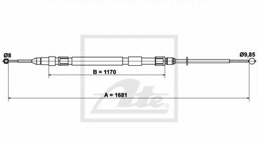 Cablu, frana de parcare BMW Seria 5 (E60) (2003 - 2010) ATE 24.3727-0236.2 piesa NOUA