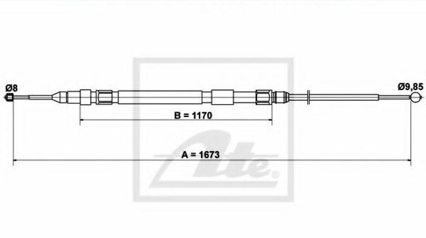 Cablu, frana de parcare BMW Seria 5 (E60) (2003 - 2010) ATE 24.3727-0237.2 piesa NOUA