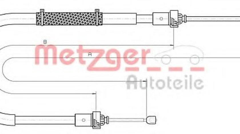 Cablu, frana de parcare DACIA DUSTER (2010 - 2016) METZGER 10.6895 piesa NOUA